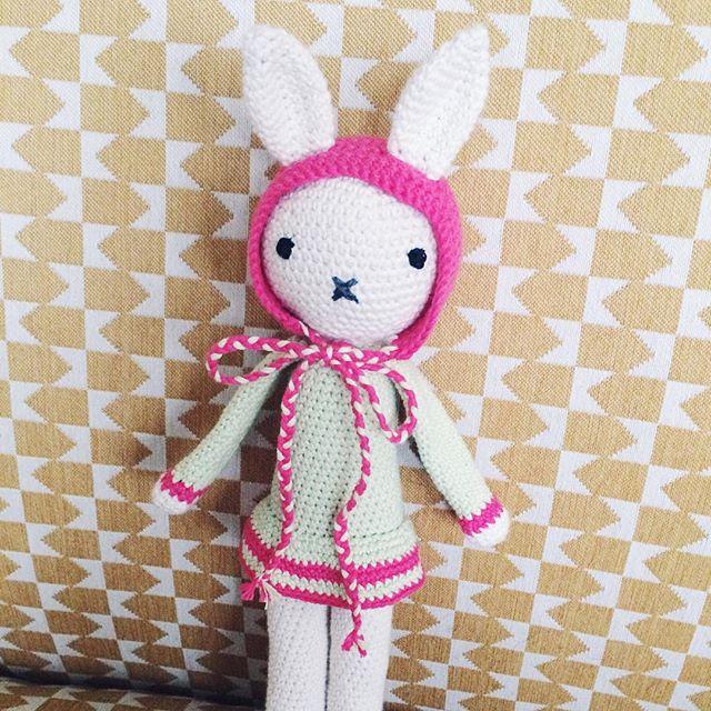 Le cadeau de Noël fait main pour ma sœur, une petite poupée-lapin au crochet