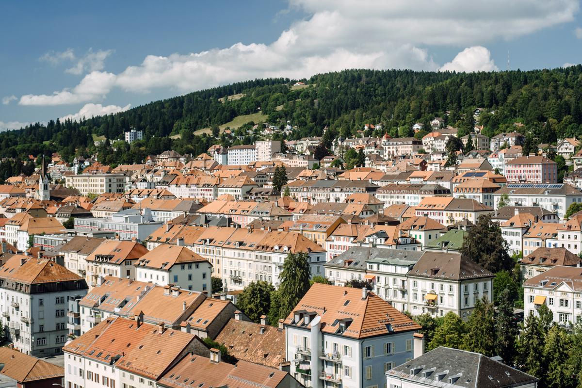 Vue sur La Chaux-de-Fonds depuis le 14e étage de la Tour Espacité