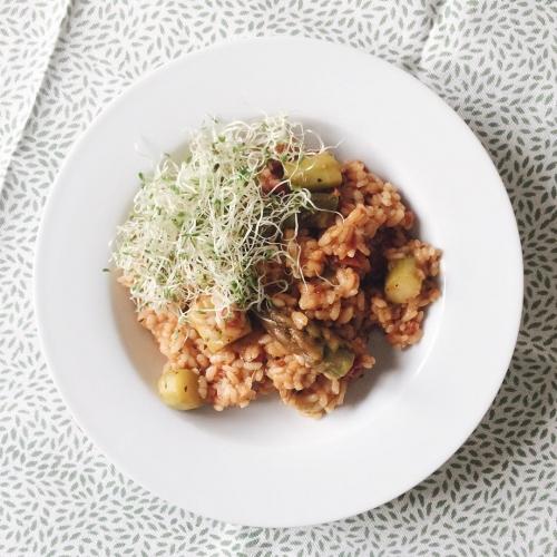 Risotto aux asperges et tomates séchées
