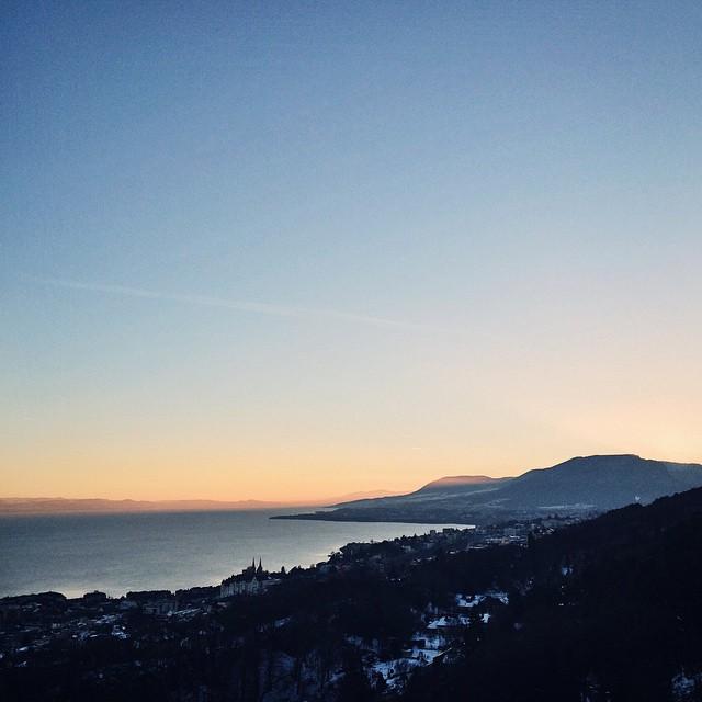 Le coucher du soleil depuis le Rocher de l'Ermittage