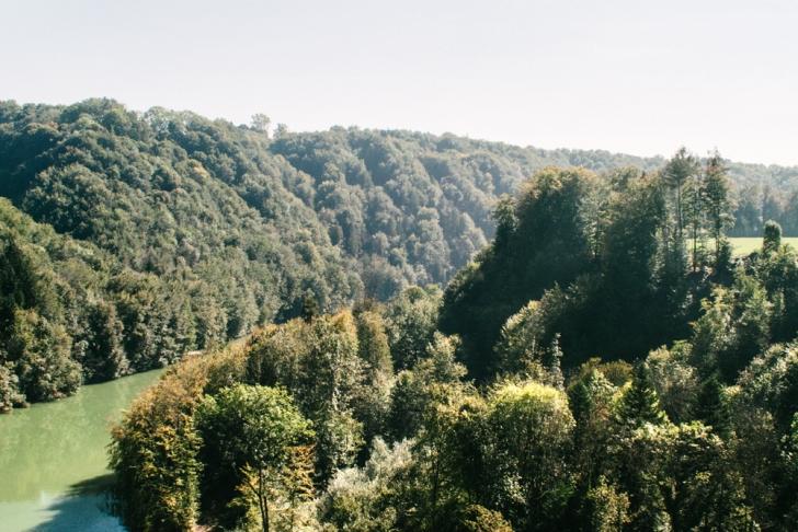 Fribourg – Vue sur la Sarine depuis le Viaduc de Grandfey