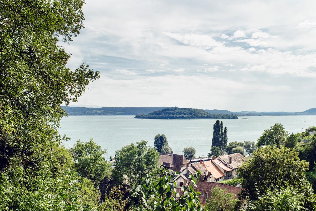 Vue sur le lac de Bienne et l'Île St-Pierre depuis les hauteurs de Twann