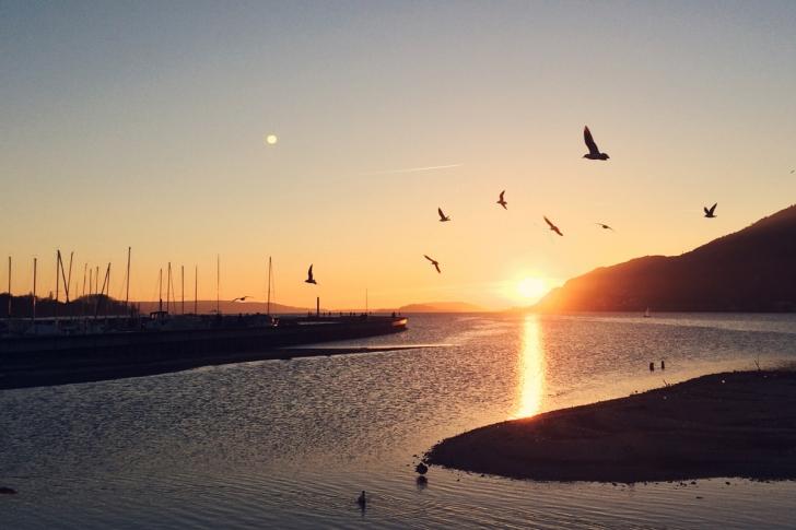 Le coucher de soleil sur le lac de Bienne