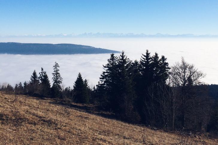 La mer de brouillard depuis les crêtes du Jura