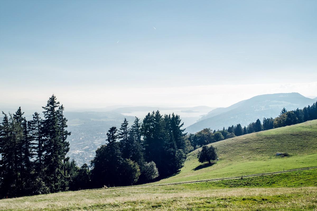 Vue sur la région des trois lacs et le Seeland depuis la montagne de Boujean