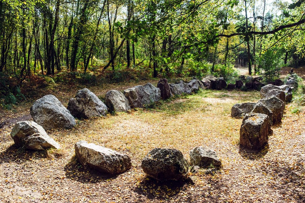 Bretagne, forêt de Paimpont: jardin aux moines