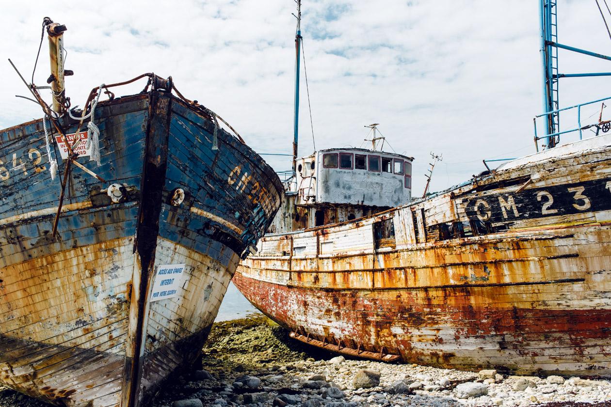 Bretagne: cimetière de bateaux de Camaret-sur-Mer