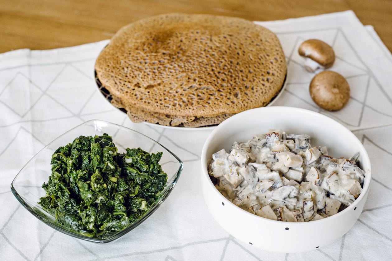 Garnitures pour des crêpes végétaliennes salées