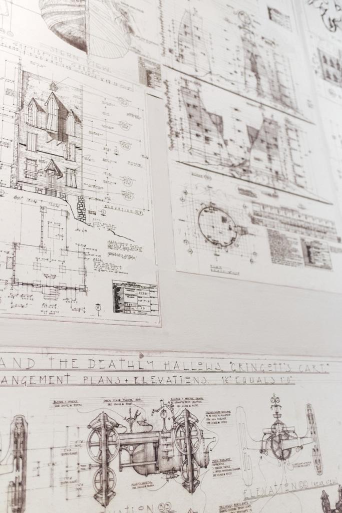 Visite des Studios Harry Potter à Londres – Dessins techniques de bâtiments et d'objets