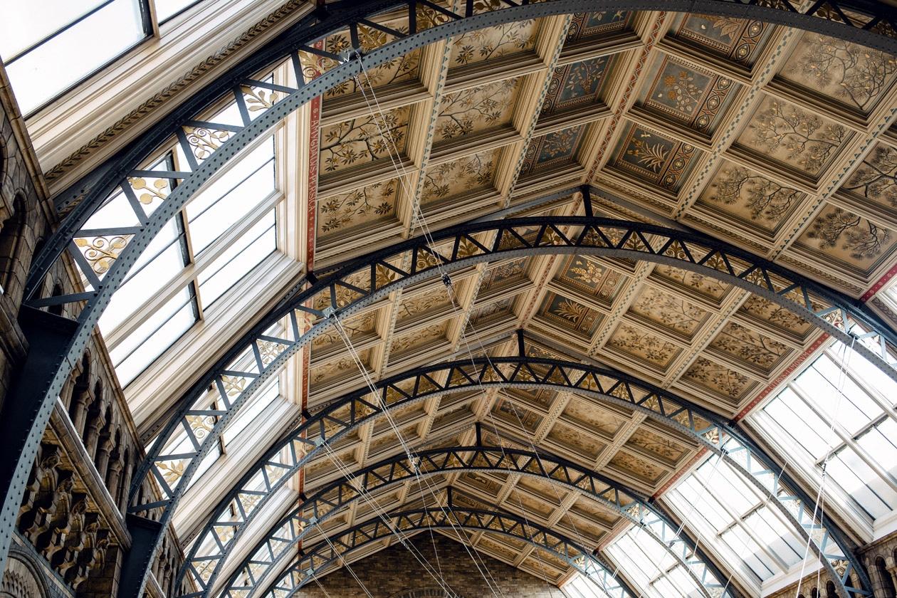 Grand hall d'entrée du Musée d'Histoire Naturelle de Londres