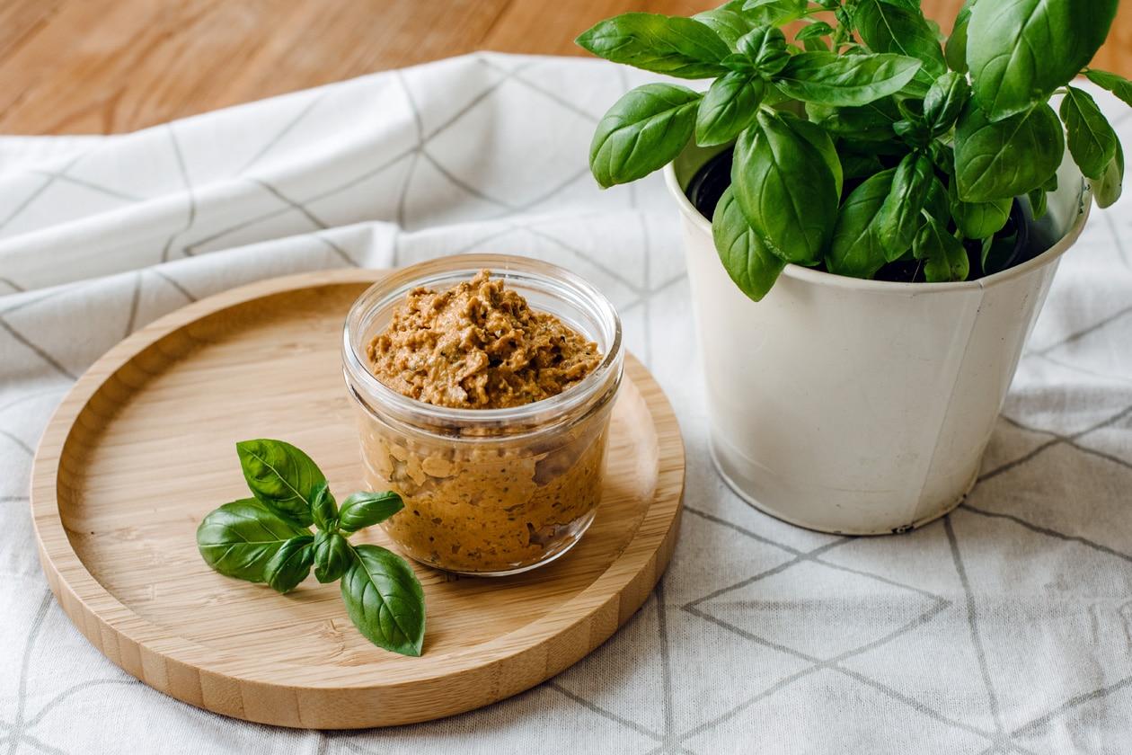 Pesto rosso végétalien aux graines de tournesol