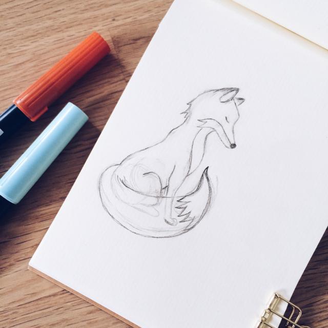 Dessin au crayon d'un petit renard