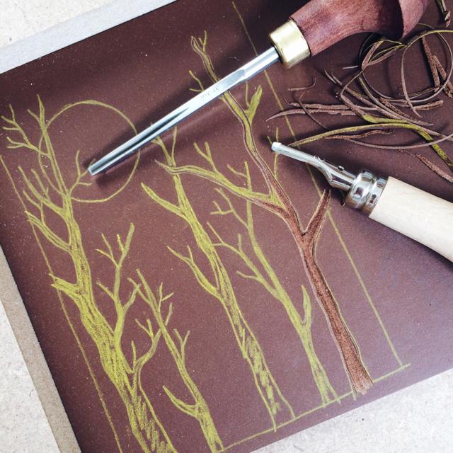 Gravure en cours sur lino