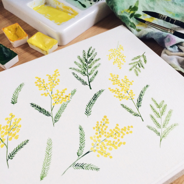 Aquarelle d'un motif composé de branches de mimosa