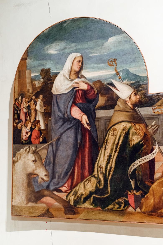 Peinture chrétienne classique, représentant un homme d'église, une femme voilée, et une licorne –Venise, Galeries de l'Académie