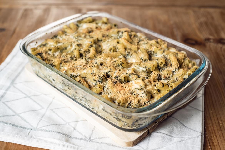 Gratin de pâtes végétaliens, façon épinards-ricotta, au tofu lactofermenté